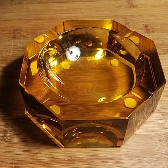 Vintage Amber Glass Ashtray